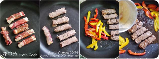 剝皮辣椒牛肉卷。作法