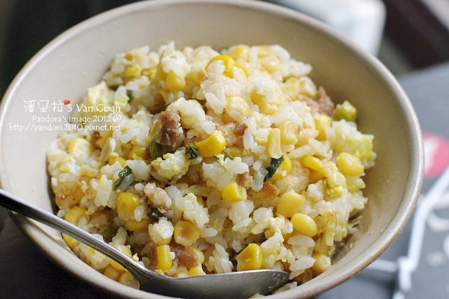2012.02.19-蔥燒滷肉玉米蛋炒飯