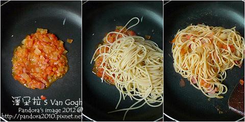 核桃蕃茄義大利麵。作法