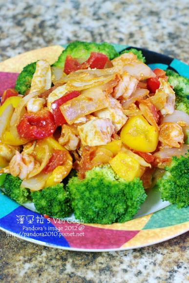 2012.03.28-蕃茄洋蔥炒雞柳+蘆筍甜椒蝦仁