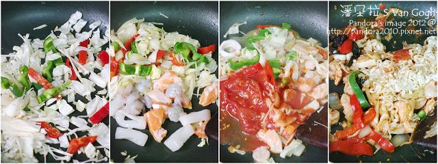 海鮮炒麵。作法