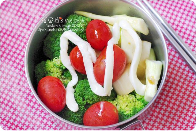 2012.04.30-青花椰菜、筊白筍、小蕃茄、(廚易)和風柚子沙拉醬、(康寶)沙拉醬
