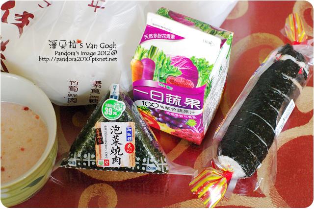 2012.05.03-(7-11)泡菜燒肉御飯糰、高麗手卷、(桂格)草莓歐蕾鮮奶麥片、(波蜜)一日蔬果100%紫色蔬果汁