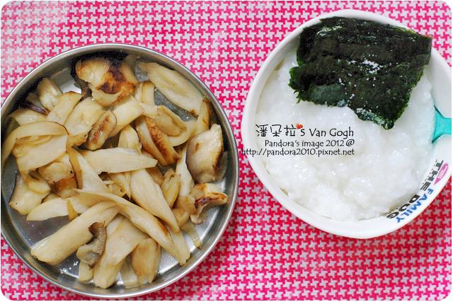 2012.05.17-清粥、海苔、乾煸杏鮑菇、鹽