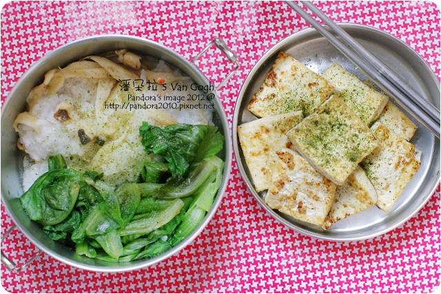 2012.05.18-清粥、乾煸杏鮑菇、燙萵苣、乾煎板豆腐、海苔調味粉