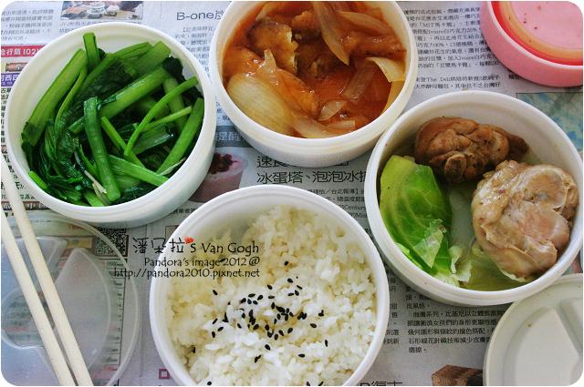 2012.06.07-(好婆婆月子餐)米飯、燙青菜、糖醋鱈魚柳、水煮雞腿
