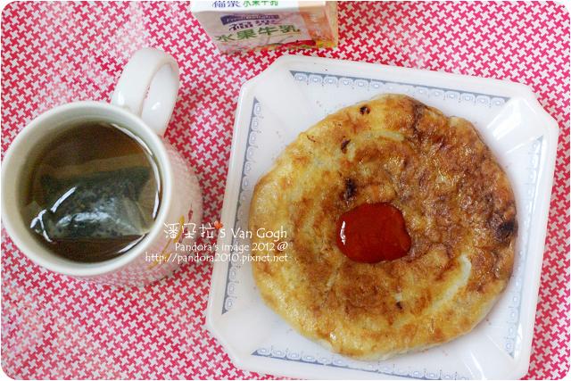 2012.06.08-高麗菜餡餅、(福樂)水果牛乳、(大藏)88番杜仲茶