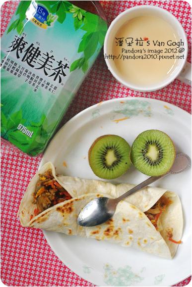 2012.06.22-檸檬多多、胡蘿蔔鮮菇起司蛋捲餅、奇異果、爽健美茶