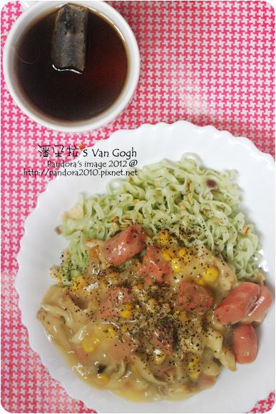 2012.06.28-培根玉米十穀蔬菜麵、(天仁)菊普茶