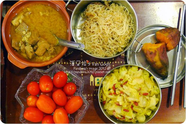 2012.07.02-麻油麵線、地瓜、麻油枸杞高麗菜、薏仁豬肉湯、小蕃茄