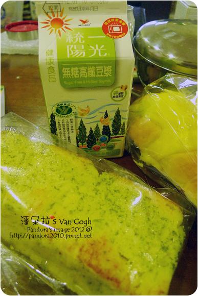2012.07.03-香蒜吐司、奶酥麵包、(統一)陽光高纖無糖豆漿