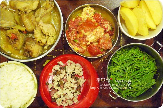 2012.07.04-燒酒雞、麻油炒龍鬚菜、蕃茄炒蛋、蘋果