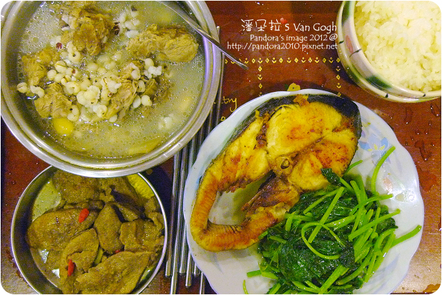 2012.07.06-麻油豬肝、四神排骨湯、地瓜葉、乾煎土魠魚