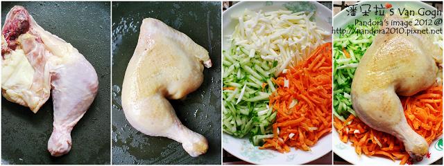 涼拌彩蔬香雞絲。作法