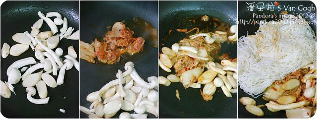 酸辣泡菜炒麵。作法