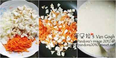 胡蘿蔔菇菇煎餅。作法