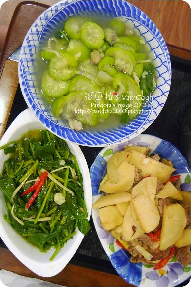 2012.08.13-炒鮮筍、炒皇宮菜、絲瓜湯