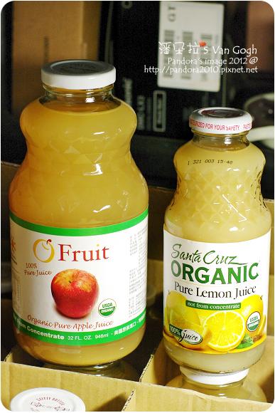 (歐芙)有機純蘋果汁、(Santa Cruz)100% 有機檸檬汁