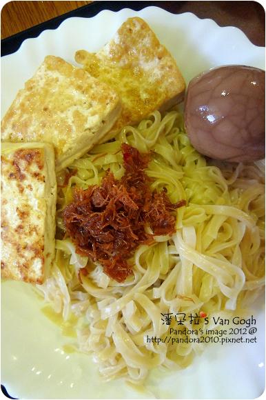 2012.08.20-鹽水意麵+干貝絲、茶葉蛋、麻油煎豆腐