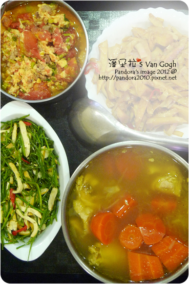 2012.08.20-肉骨茶、豆乾炒水蓮、番茄炒蛋