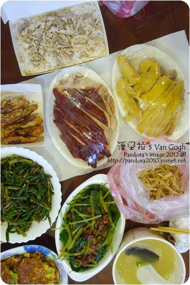 2012.08.25-火雞肉飯、涼拌牛蒡絲、脆皮烤雞、油雞、蝦卷