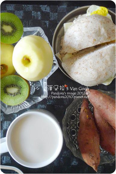 2012.08.31-全麥起司蛋饅頭、(愛之味)真珠薏仁露、蘋果、綠奇異果、珍品地瓜