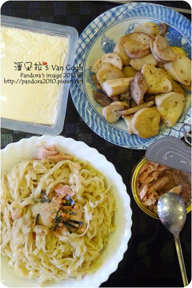 2012.09.03-鹽水意麵+調味粉、(遠洋)碳烤鮪魚、乾煸杏鮑菇、(中華)有機豆腐