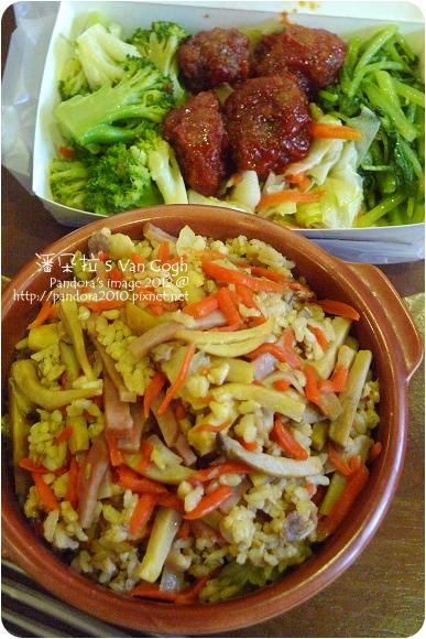 2012.09.05-火腿菇菇炊飯、炒青菜、糖醋排骨