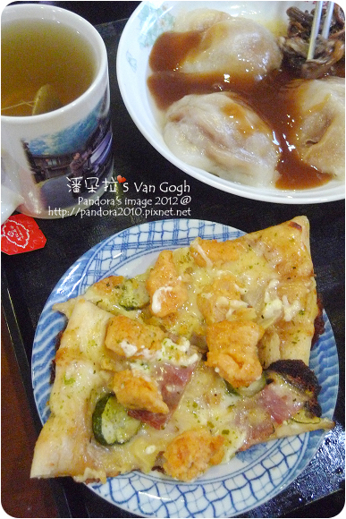 2012.09.18-(PizzaHut)輕Q餅皮pizza-黃金和風雞、肉圓、(天仁)綠茶