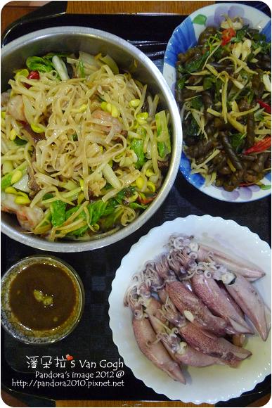 2012.09.21-蝦仁炒麵、小卷、炒海茸(捲捲海帶)