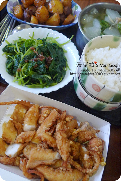 2012.09.22-花枝燒、肉羹冬瓜湯、燉馬鈴薯