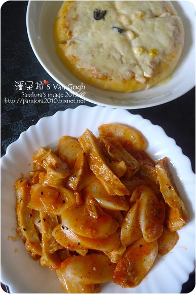 2012.10.04-辣炒泡菜年糕、(pasta99)香料鮪魚pizza