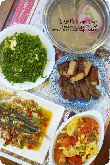 2012.10.10-番茄炒蛋、滷雞胗、滷豆干、炒山蕨菜