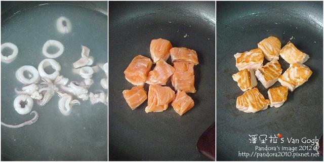 三杯鮭魚。作法