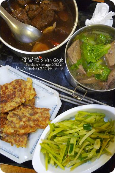 2012.10.23-清燉牛肉、豬肝白菜湯、炒芹菜、菜脯蛋