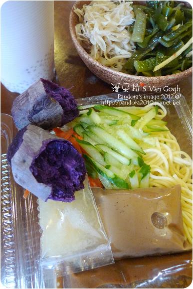2012.11.16-(周家)涼麵、地瓜、涼拌牛蒡絲、海帶芽、奶茶西米露