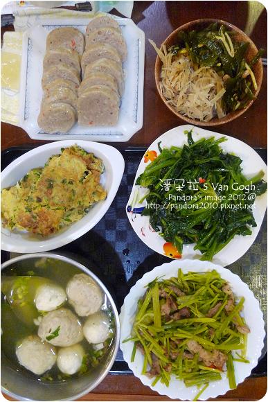 2012.11.16-魚捲、魚丸湯、蔥蛋、肉絲炒芹菜、炒菠菜、涼拌牛蒡絲、海帶芽
