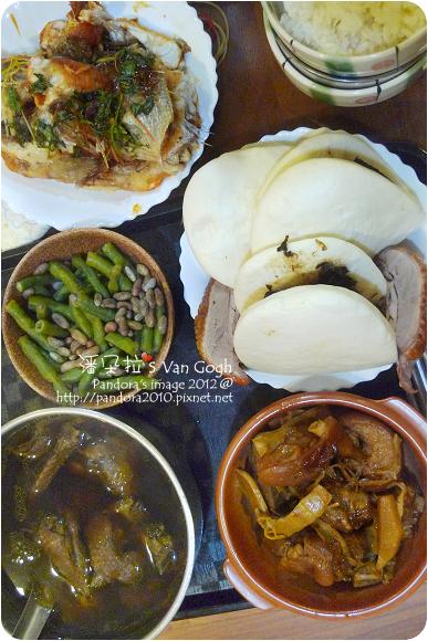 2012.11.17-刈包、滷豬腳、四季豆、仙草雞湯、糖醋吳郭魚