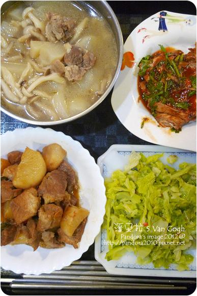 2012.11.26-蘿蔔菇菇排骨湯、茄汁鯖魚、炒高麗菜、蘿蔔封肉