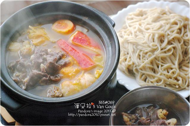 2013.01.08-蔬菜牛肉小火鍋、(桂格)機能燕麥麵