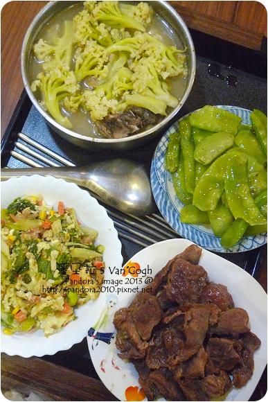 2013.03.04-花椰菜湯、炒扁豆、紅燒牛肉、蔬菜炒蛋