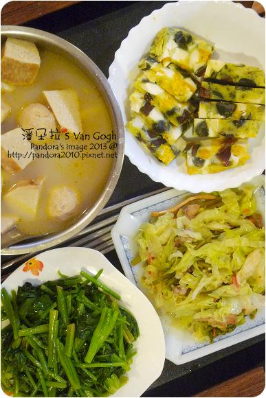 2013.03.12-炒菠菜、豆皮炒高麗菜、三色蛋、山藥貢丸湯
