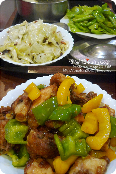 2013.03.18-糖醋雞腿、花生炒高麗菜、海帶豆腐味噌湯