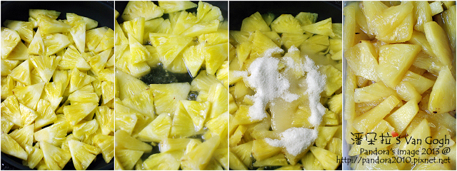 糖漬鳳梨。作法