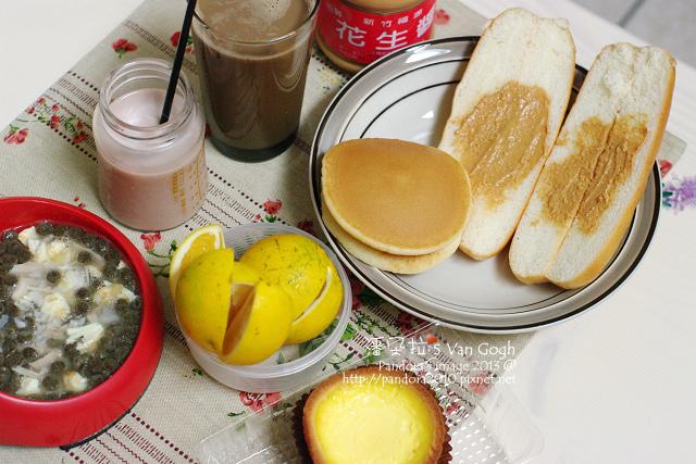 2013.12.13-安素咖啡、花生醬麵包、蜂蜜奶油鬆餅、蛋塔、柳丁、可可.jpg
