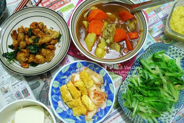 2013.12.18-咖哩湯、香酥雞米花、嫩蛋捲+泡菜、炒小白菜、米飯-.jpg