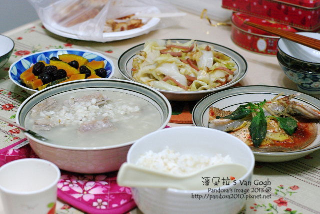 2013.12.23-薏仁排骨湯、紅棗蒸南瓜、火腿炒高麗菜、蒸虱目魚肚、米飯.jpg