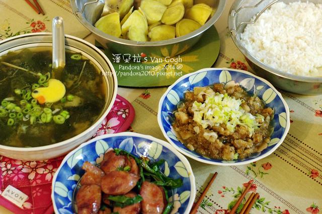 2014.01.03-海帶味噌湯、青蔥炒香腸、蒸地瓜、滷肉飯-.jpg