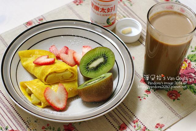 2014.01.13-二合一咖啡、地瓜蛋捲、草莓、奇異果