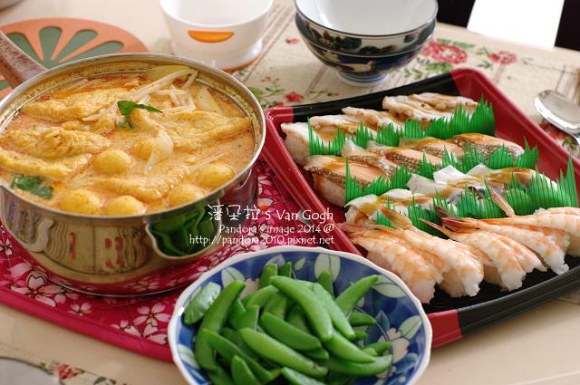 2014.01.18-握壽司、新加坡叨沙、荷蘭豆.jpg